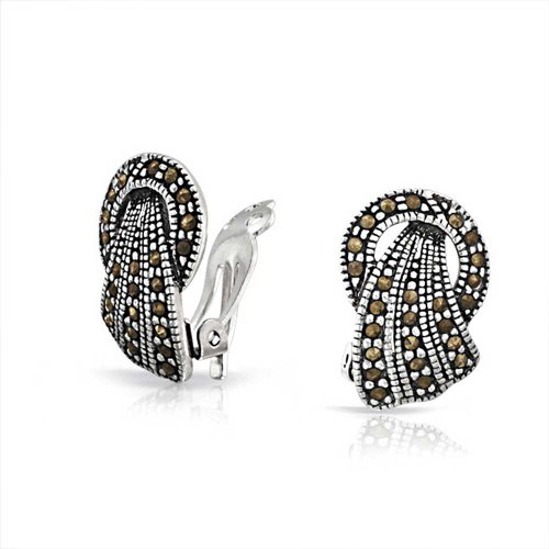 Marcasite Pattern Earrings - Pave Marcasite Sterling Silver Clip On Earrings