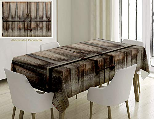 Unique Custom Cotton And Linen Blend Tablecloth Rustic Decor Retro Entrance With Padlock To Abandoned House Wooden Gate Rough Oak Agriculture Image BrTablecovers For Rectangle Tables, 70 x 52 Inches