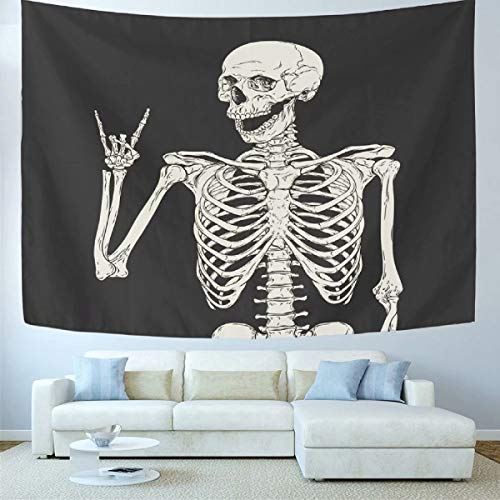 Wamika Skull Tapestry Wall Hanging Rock and Roll Home Decor Tapestries Wall Art Funny Skeleton Boho Hippie Bohemian Tapestry for Dorm Living Room Bedroom Black and White 60 X 60 Inches -