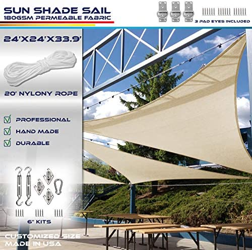 Windscreen4less 24' x 24' x 34' Right Triangle Sun Shade Sail