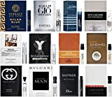 High End Designer Fragrance Sampler for Men - Lot x 12 Cologne Vials Dylan blue,Luna rossa,at the barber'sSpicebomb,Guilty,Ysl,Gio