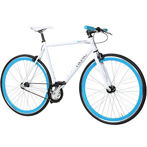 28' Fixie Singlespeed Bike Viking Blade 5 Farben zur Auswahl, Farbe: Weiß / Blau; Rahmengrösse: 59 cm
