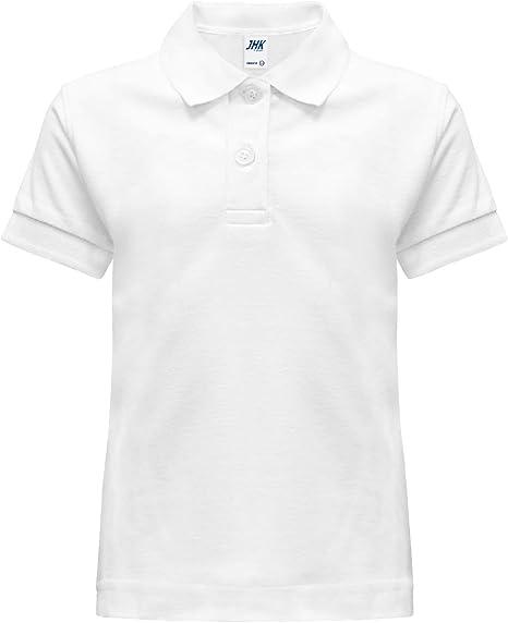 Polo camiseta camiseta dividida escolar blanca Manga corta tallas ...