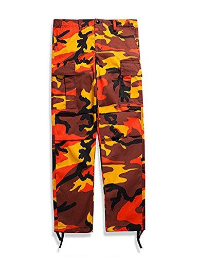 Jeans Multi Camouflage Hommes De Idopy poches Pour Loisirs Orange Pantalon x0YIqwO