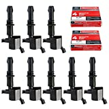 Straight Boot Ignition Coils DG511 with Motorcraft SP515 SP546 Spark Plugs for Ford Lincoln Mercury V8 V10 4.6l 5.4l 6.8l Compatible with 3L3E12A366CA 5C1584 C1541 FD-508 UF-537 DQ50101D (set of 8)