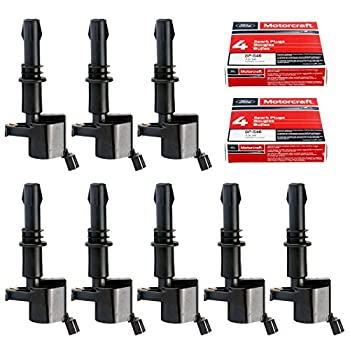 Image of Coil Packs MAS Set of 8 Ignition Coils GDG511 GD511 FD508 Motorcraft Spark Plugs SP546 PZH14F For 2005-2008 Ford F150 F-150 Lincoln SP515