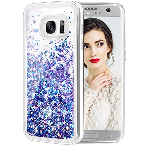 Galaxy S7 Edge Case, Caka Galaxy S7 Edge Glitter Case Liquid Series Luxury Fashion Bling Flowing Liquid Floating Sparkle Glitter Girly Soft TPU Case for Samsung Galaxy S7 Edge - (Blue Purple)