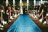 ShinyBeauty 4FTX15FT-Wedding Aisle Runner-Turquoise,Glitter Carpert Runner,Sequin Aisles Floor Runner,Wedding Ceremony Decor, Sparkly Sequin Fabric Footcloth (Turquoise)