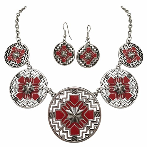 [Aztec 5 Disk Cutout Southwestern Look Silver Tone Boutique Style Necklace Earrings Set (RED)] (Womens Rainbow Bright Costume)
