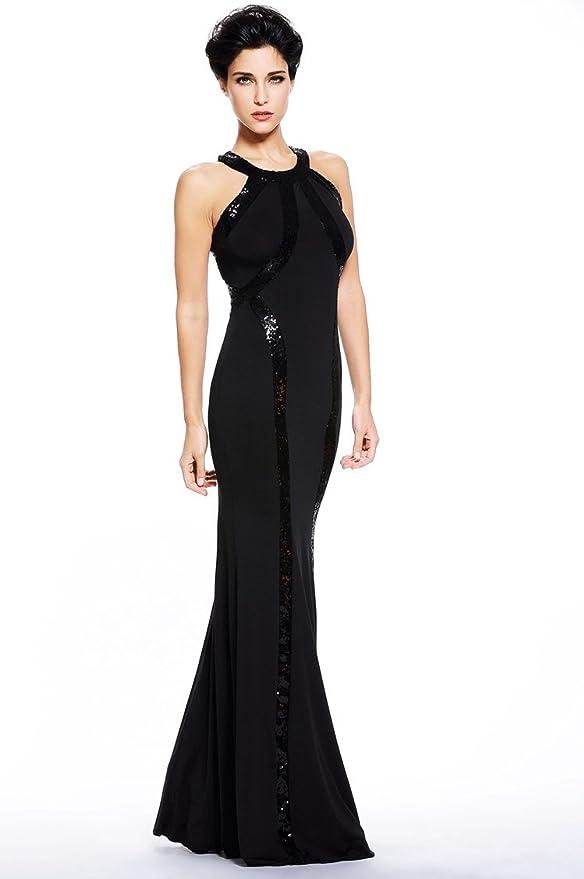 Amazon.com: Montmo Womens Gorgeous Jersey Sequin Trim Evening Dress Long Gown: Clothing