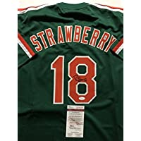 fan products of Autographed/Signed Darryl Strawberry New York Mets Green Baseball Jersey JSA COA