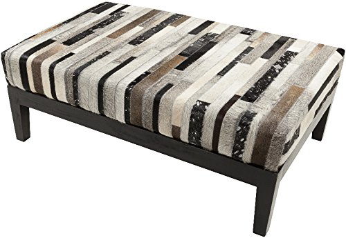 Surya Trail Hide Bench in Brown Gray and Black by Surya