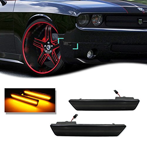 GTINTHEBOX 2PCS 3D Smoked Lens Amber 24-SMD LED Front Bumper Side Marker Lights Lamps Replacement Kit For 2008-2014 Dodge Challenger