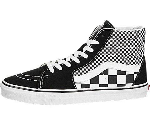 Vans Unisex SK8-Hi Mono Skate Shoes Mixed Checker/Black/True White 8 B(M) US Women/6.5 D(M) US Men (Sk8 White Hi Vans)