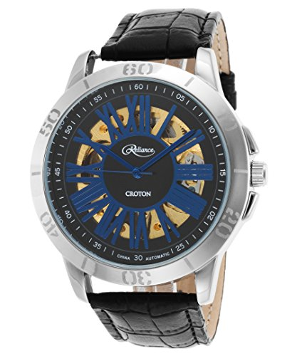 Croton Mens Reliance Automatic Leather Watch (Black/Silver/Blue)