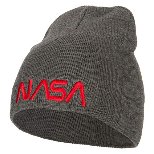 (e4Hats.com NASA Letters Embroidered Knitted Short Beanie - Dk Grey OSFM)