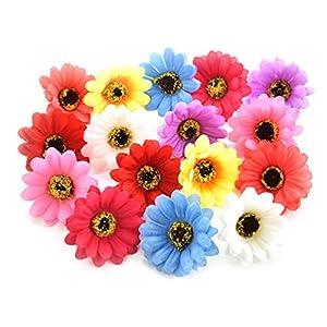 Fake flower heads in bulk wholesale for Crafts Silk Sunflower Daisy Roses Handmake Artificial Flower Heads Home Wedding Decoration DIY Wreath Decor Gift Box Scrapbooking 50pcs 5cm (Colorful) 17