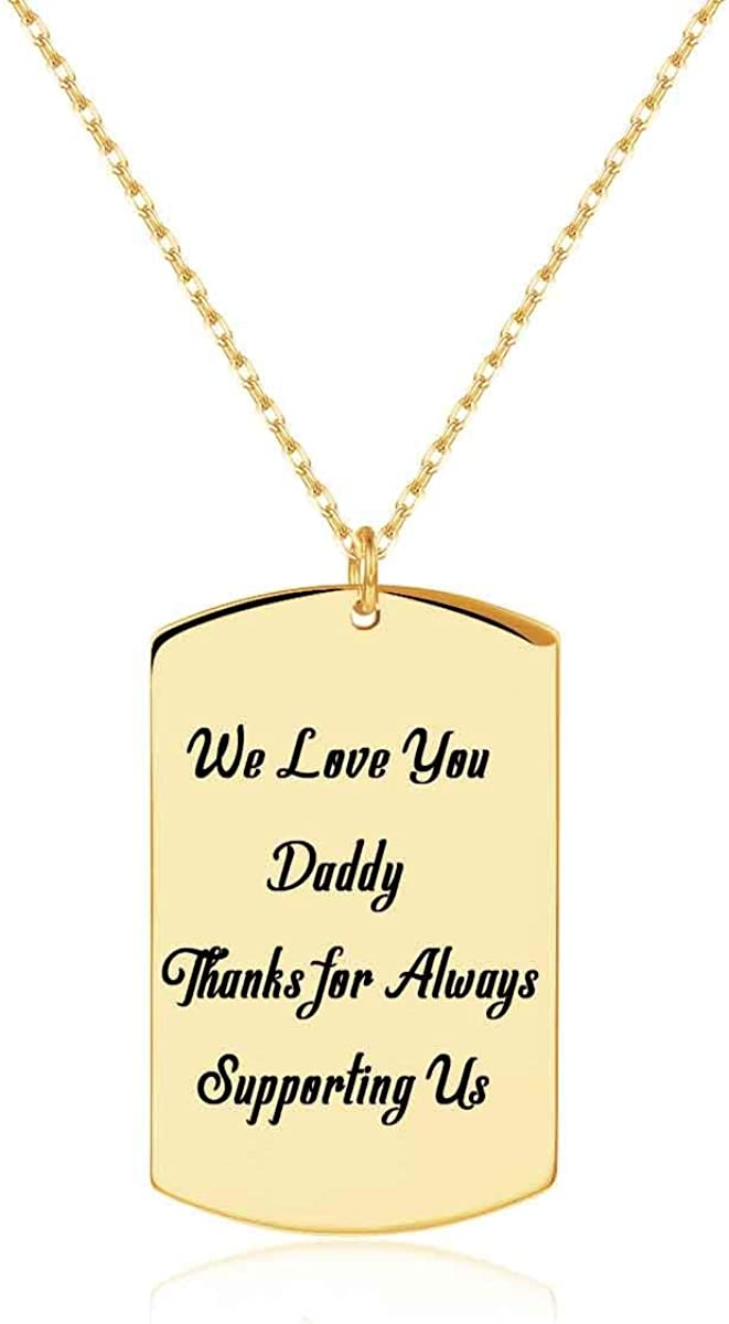 Unqiue Personalized Men necklace Dog Tag Going away gift birthday Anniversary Baby
