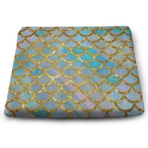 Office Chair/Car Chair/Bar Stool Super Cozy Seat Cushion Chair Pad, Charming Pastel Mermaid Scale Patio/Garden/Home Decoration 3D Print Pads, Durable and Washable for Men Women Kids