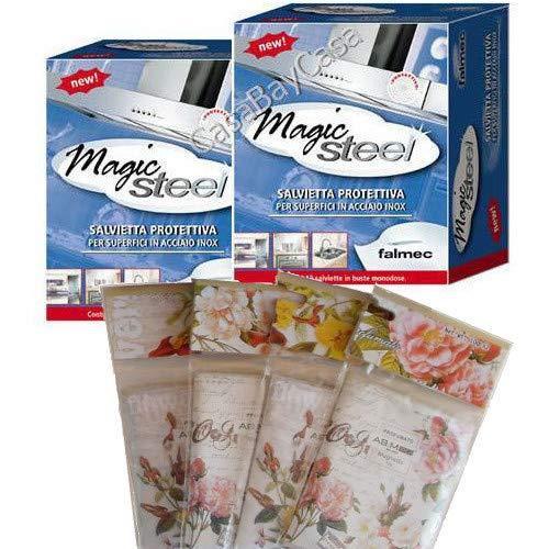 Falmec 20 Salviette MAGIC STEEL per pulizia acciaio inox (2 pacchetti da 10 pezzi) + Omaggio una Spugna in microfibra lucidante per stoviglie