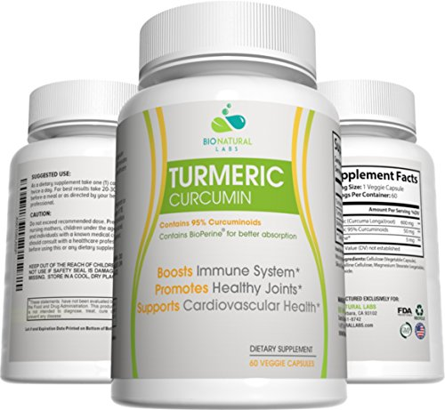 Turmeric Curcumin 95% Curcuminoids Capsules with BioPerine Black Pepper Extract, Supplement for Arthritis Pain, All Natural Joint Pain Relief (60 Capsules, 30 Day Supply)