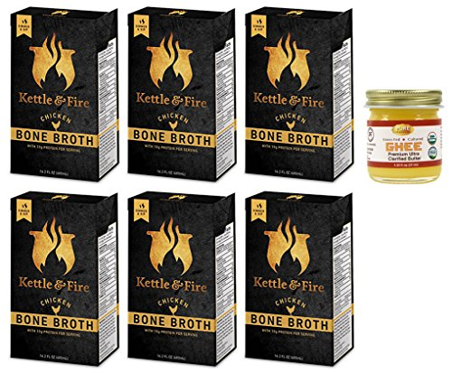 Kettle & Fire - 6 Organic Chicken Bone Broths with Pure Traditions ghee - ( 6 Chicken Bone Broths 16.2 oz with one 1.25 oz ghee)