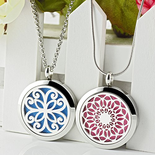 Two Lademayh Essential Oils Necklace Diffuser - Vintage Floral Locket-Style Aromatherapy Stainless Steel Pendant Necklace for Women