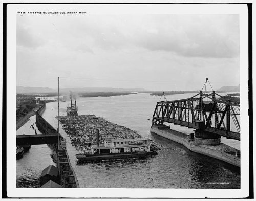 Photo: Raft passing drawbridge,Lotus,stern wheeler,rivers,Winona,Minnesota,MN,1880