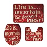 iPrint 3 Piece Shower Mat Set,Vintage,Retro Classic Decorative Design for Restaurant and Food Symbols Signs Funny Diner Supper Decorative,Red Creme,Customized Rug Set