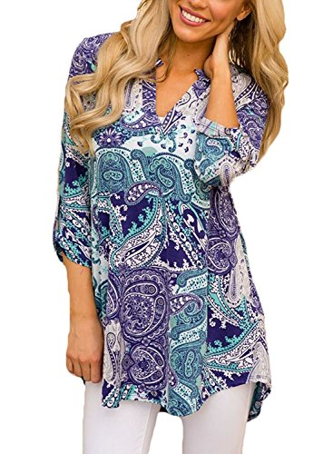 TrendiMax Women Casual Split V Neck Cuffed 3/4 Sleeve Floral Printed Blouses Tops ( 8 Floral Pattern)