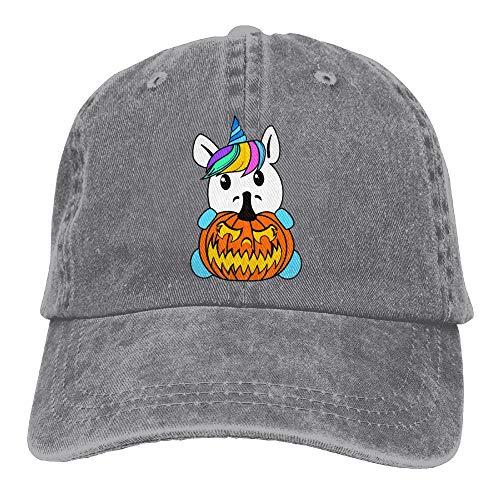Halloween Unicorn Denim Hat Adjustable Mens Curved Baseball Hats -