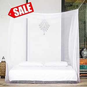 31%OFF - EVEN Naturals® Mosquito Net Double Bed Rectangular Curtains | Fly Screen Netting | Insect Malaria Zika Repellent | Money-back Guarantee | Free Carry Pouch, Hanging Kit & eBook | Home & Travel