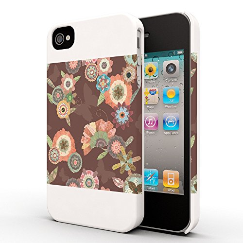Koveru Back Cover Case for Apple iPhone 4/4S - Flower Bouquets Brown