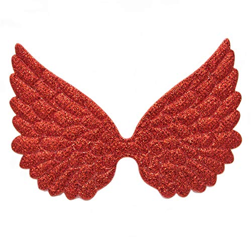 Glitter Fabric Angel Wings Embossed Angel Wing Appliques for DIY Craft Project, Hair Accessory - Pack of 10 PCS (Glitter Red)