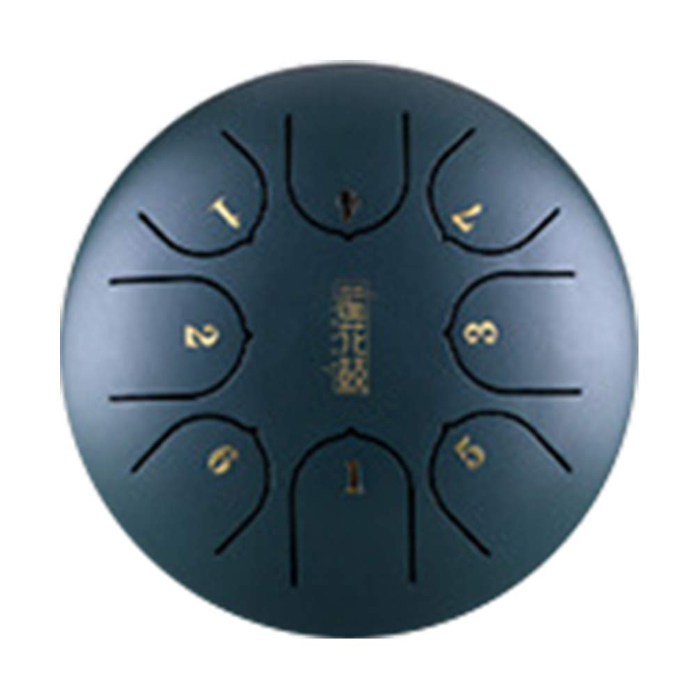 Black Steel Tongue Drum Hand Pan Mini 6 Inch 8 Notes Percussion with Mallets Professional G Tune Tank Music Education Carry Instrument