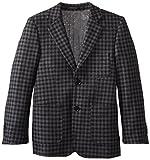 Isaac Mizrahi Black Label Big Boys' Pure Wool Check Blazer, Gray, 10