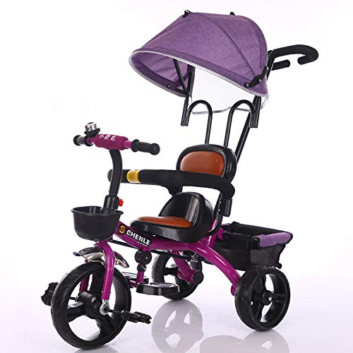 - Baby Kids Children Tricycle, Ride on 3 Wheels Safe Canopy Bike, Environmentally Friendly/Comfortable and Breathable/Adjustable,Purple