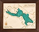 Shaver Lake - Fresno County - CA - 2D Map 8 x 10 in (Dark Oak Frame) - Laser Carved Wood Nautical Chart and Topographic Depth map.