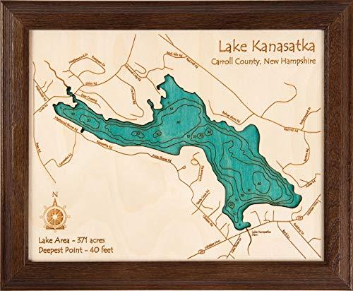 Long Lake Lifestyle Cedar Creek Reservoir - Franklin County - AL - 2D Map 8 x 10 in (Dark Oak Frame) - Laser Carved Wood Nautical Chart and Topographic Depth ()