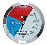 DOZYANT 3 1/8' Larger Face 550F BBQ Barbecue Charcoal Grill Pit Wood Smoker Temp Gauge Grill Thermometer 3' Stem Stainless Steel RWB