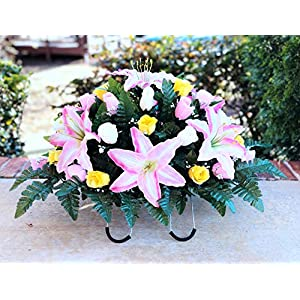 starbouquets Cemetery Saddle Flowers - Pink Yellow Cream Rose and Pink Lily Silk Flowers ~ Headstone Saddle Flowers 54
