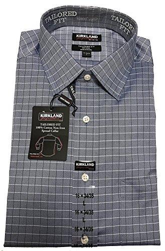 Kirkland Signature Mens Long Sleeve Non-Iron Button Down Dress Shirt (XL 17x34/35, Navy Herringbone Sliver - Sleeve Herringbone Dress Shirt Long