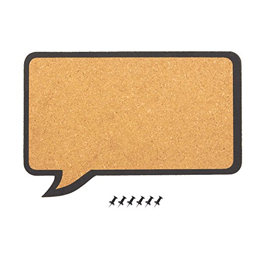 Cork Bulletin Board – Decorative Speech Bubble Natural Cork Board - Includes 6 Push Pins - Perfect for Pinning Memos and Reminders, 17.5 x 11.5 x 0.3 Inches Door Cork Board