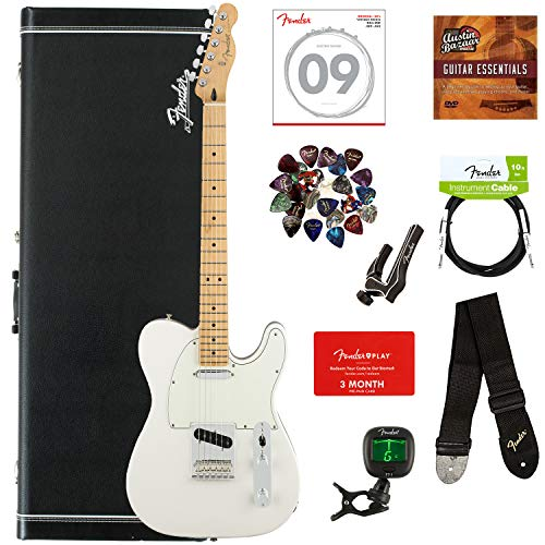 Fender Player Telecaster, Maple - Polar White Bundle with Hard Case, Cable, Tuner, Strap, Strings, Picks, Capo, Fender Play Online Lessons, and Austin Bazaar Instructional DVD