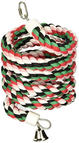 "A&E CAGE COMPANY HB553 Happy Beaks Cotton Rope Boing with Bell Bird Toy, 1 by 96"", Multicolor"