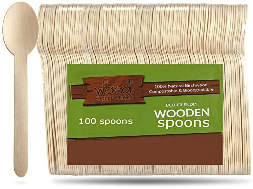 wood collection Disposable Wooden Spoons From Natural & Biodegradable Birchwood   Compostable Wooden Tableware For Parties, Pack Of 100. (Spoons) ()
