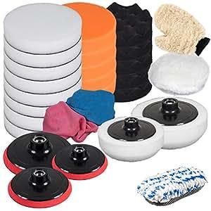 TecTake Set de pulido de 29 piezas con esponjas para máquina de pulidora pulir limpieza