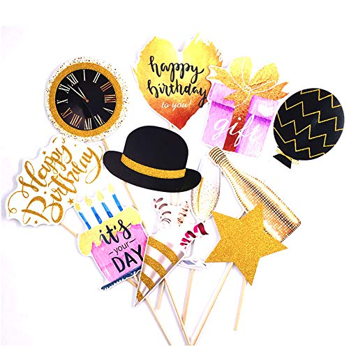 Gold Happy Birthday Photo Booth Props(12 pcs-Fully Assembled), Gold Black Purple Birthday Party Supplies Decorations for Girls Kids Adults Birthday Baby Shower Party
