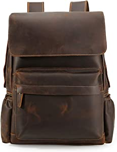 Tiding 15.6 Inch Vintage Men's Crazy Horse Cowhide Real Leather Laptop Backpack Large Capacity Travel Bag Bookbag with YKK Zipper