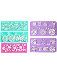 Embossing Lace Fondant Moulds, Multi Circle Flowers Lace Mat Wedding Cake Decoration Tool, Rattan Shaped Cupcake Mat Silicone Molds set of 5